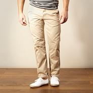 Cream straight leg chinos