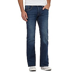 Red Herring - Big and tall dark blue mid wash bootcut jeans