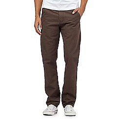 St George by Duffer - Big and tall brown twill chinos