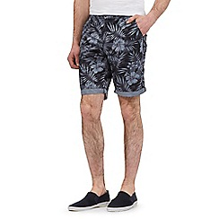 Red Herring - Dark grey leaf print shorts