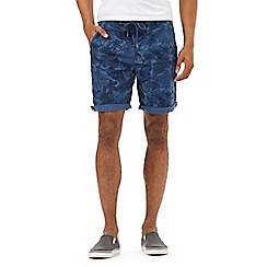 Red Herring - Navy tropical leaf print chino shorts