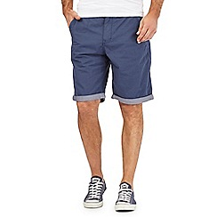 St George by Duffer - Big and tall navy dogtooth print chino shorts
