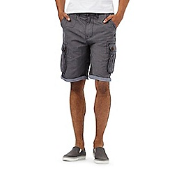 St George by Duffer - Big and tall navy pindot print cargo shorts