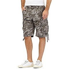 St George by Duffer - Grey Hawaiian leaf print shorts