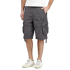 St George by Duffer - Dark grey checked print belted cargo shorts