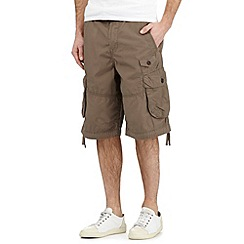 St George by Duffer - Big and tall brown belted cargo shorts