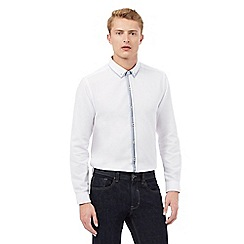 Red Herring - White textured double collar shirt