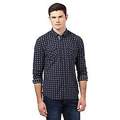 Red Herring - Navy dotted checked print shirt