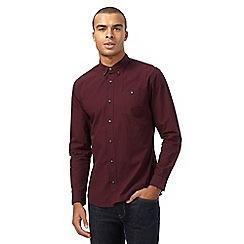 Red Herring - Dark red gingham print slim fit shirt