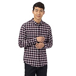 Red Herring - Navy and red checked print slim shirt