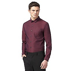 Red Herring - Dark red double collar slim fit shirt