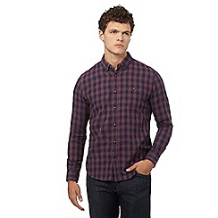 Red Herring - Dark red gingham checked print slim fit shirt