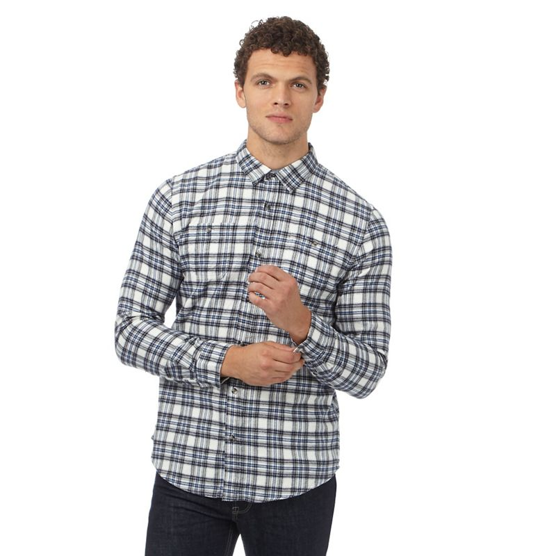 Big and Tall Red Herring White Checked Slim Fit Flannel