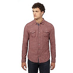 Red Herring - Dark red textured slim fit shirt