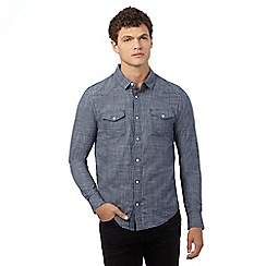 Red Herring - Blue textured casual slim fit shirt