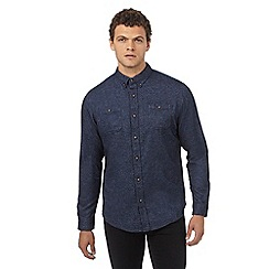 Red Herring - Dark blue brushed regular fit shirt