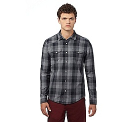Red Herring - Dark grey textured gingham slim fit shirt