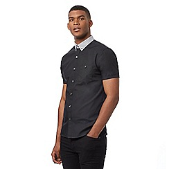 Red Herring - Black short sleeved button down shirt