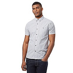 Red Herring - Navy button down grid pattern shirt