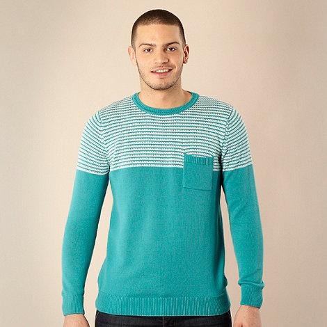 Red Herring - Dark turquoise striped shoulders jumper