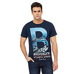 Red Herring - Navy 'Brooklyn' print t-shirt