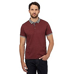 Red Herring - Dark red geometric print polo shirt