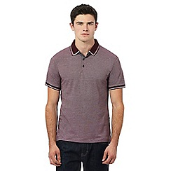 Red Herring - Dark red birdseye textured polo shirt