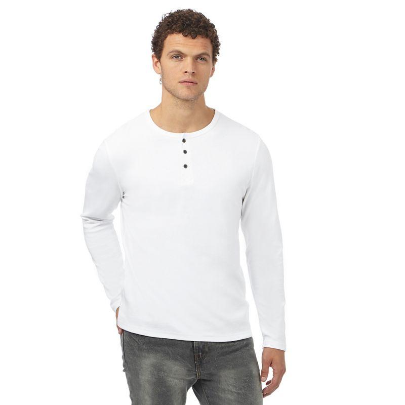 Red Herring White ribbed grandad shirt