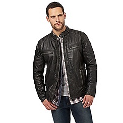 Red Herring - Black vintage wash biker jacket
