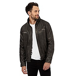 Red Herring - Black washed biker jacket