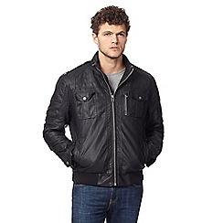 Red Herring - Black faux leather biker jacket