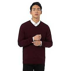 Red Herring - Big and tall dark red v neck jumper