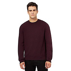 Red Herring - Dark red textured basket weave jumper