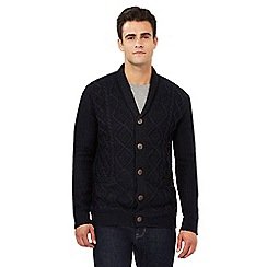 Red Herring - Navy cable knit shawl cardigan with wool