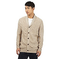 Red Herring - Beige cable knit shawl cardigan with wool