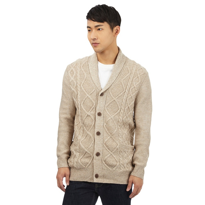 Red Herring Beige Cable Knit Shawl Cardigan With Wool,