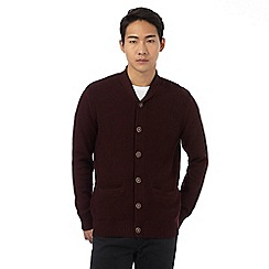 Red Herring - Dark red textured basket weave knit shawl neck cardigan