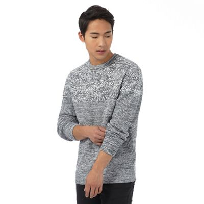 Red Herring Grey twist knit jumper with wool