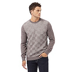 Red Herring - Dark red textured checked jumper