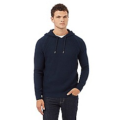 Red Herring - Navy knitted textured hoodie