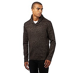Red Herring - Dark grey textured shawl slim fit jumper