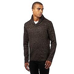 Red Herring - Dark grey textured shawl slim fit jumper