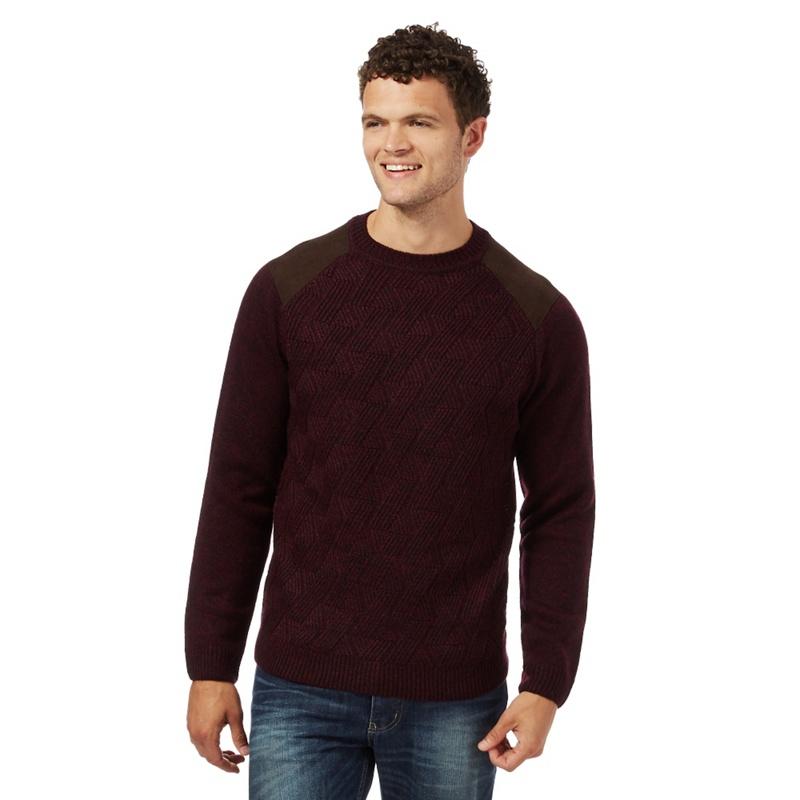 Red Herring Dark Red Zig Zag Textured Jumper With Wool,