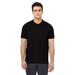 Red Herring - Black textured ribbed polo shirt