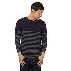 Red Herring - Navy striped print textured yoke jumper