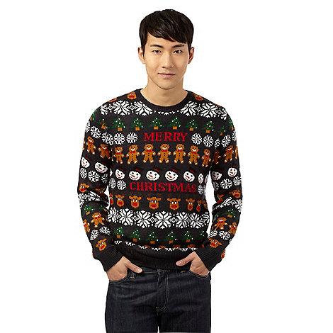 Red Herring - Navy +Merry Christmas+ print jumper