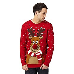 Red Herring - Red reindeer print jumper