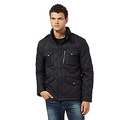 Red Herring - Navy herringbone print quilted jacket
