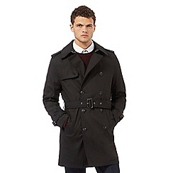 Red Herring - Black double breasted mac coat
