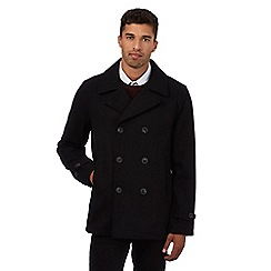 Red Herring - Black wool blend textured stripe peacoat